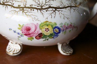 antique dragon spout floral teapot