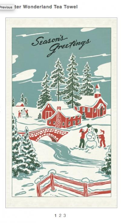 Winter Wonderland Vintage Tea Towel