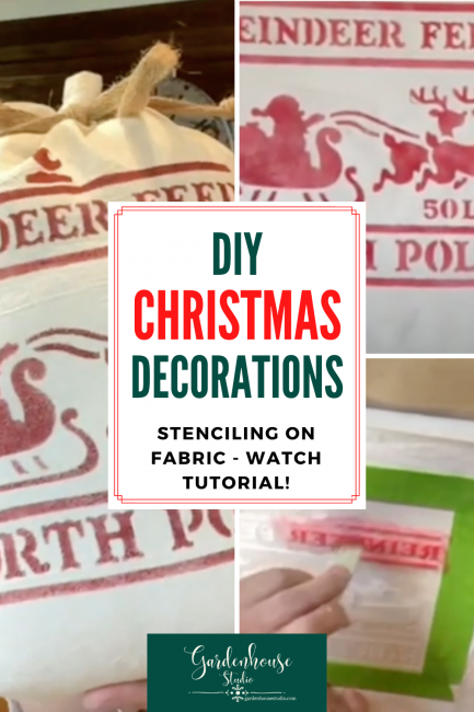 steps to stenciling Christmas decoration
