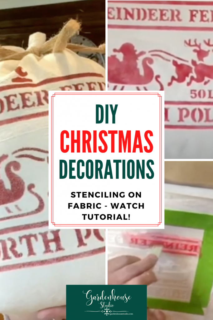 steps to stenciling on fabric Christmas decoration