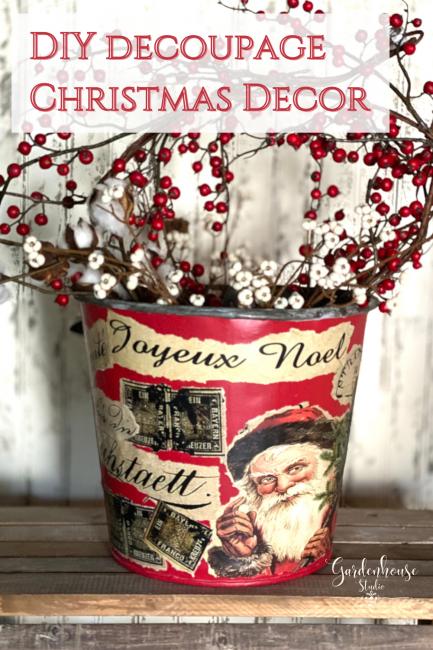 Easy Christmas Decor Project: Decoupage Transforms Vintage Sap Bucket