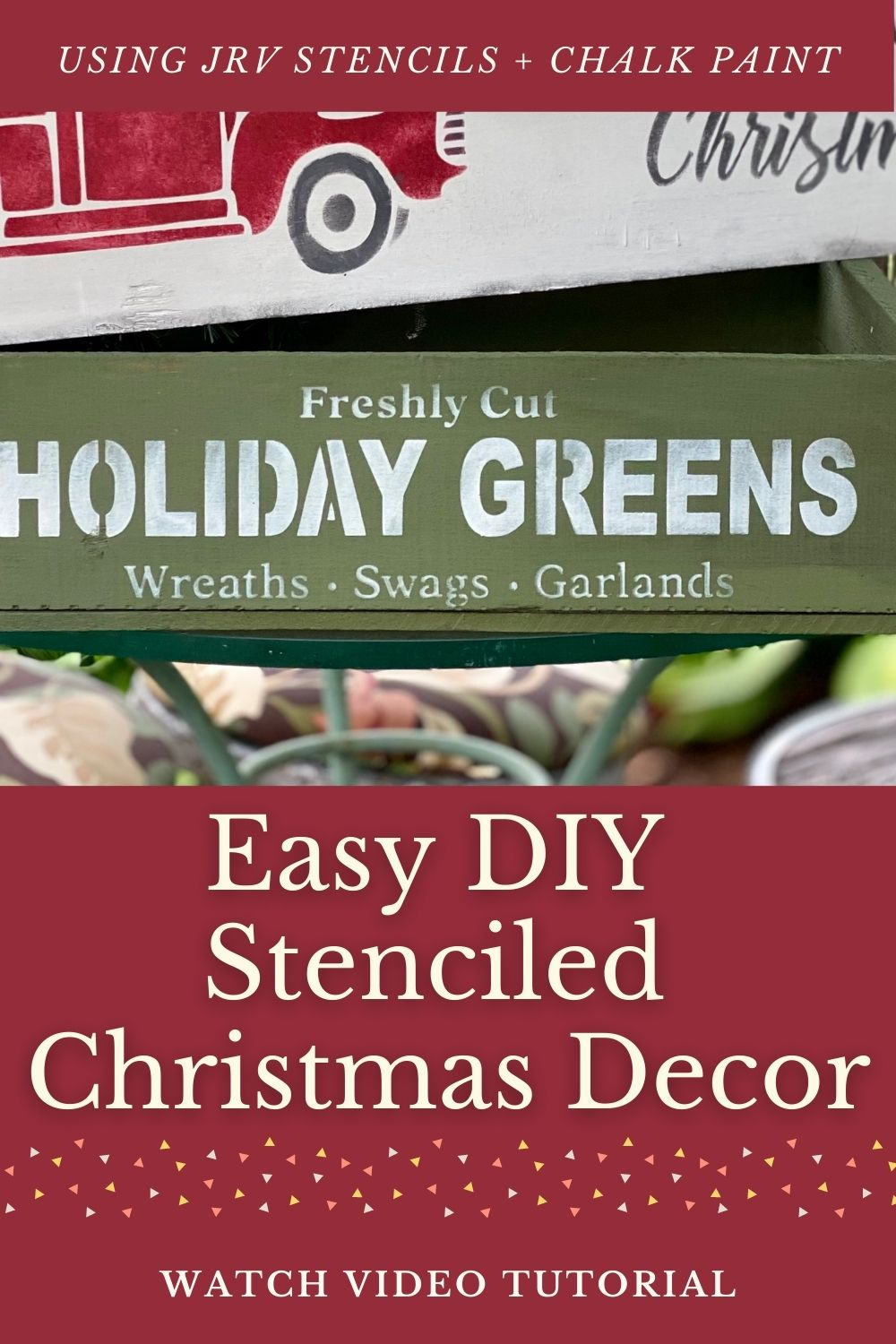 Easy DIY Christmas Decor Project: Just a Stencil and Chalk Paint